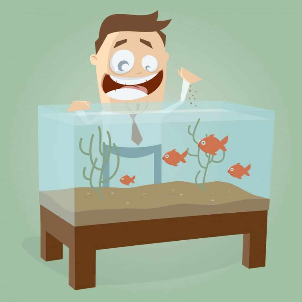 Image of a cartoon man feeding his fish