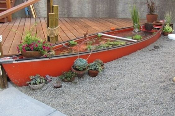 boat converted into a pond