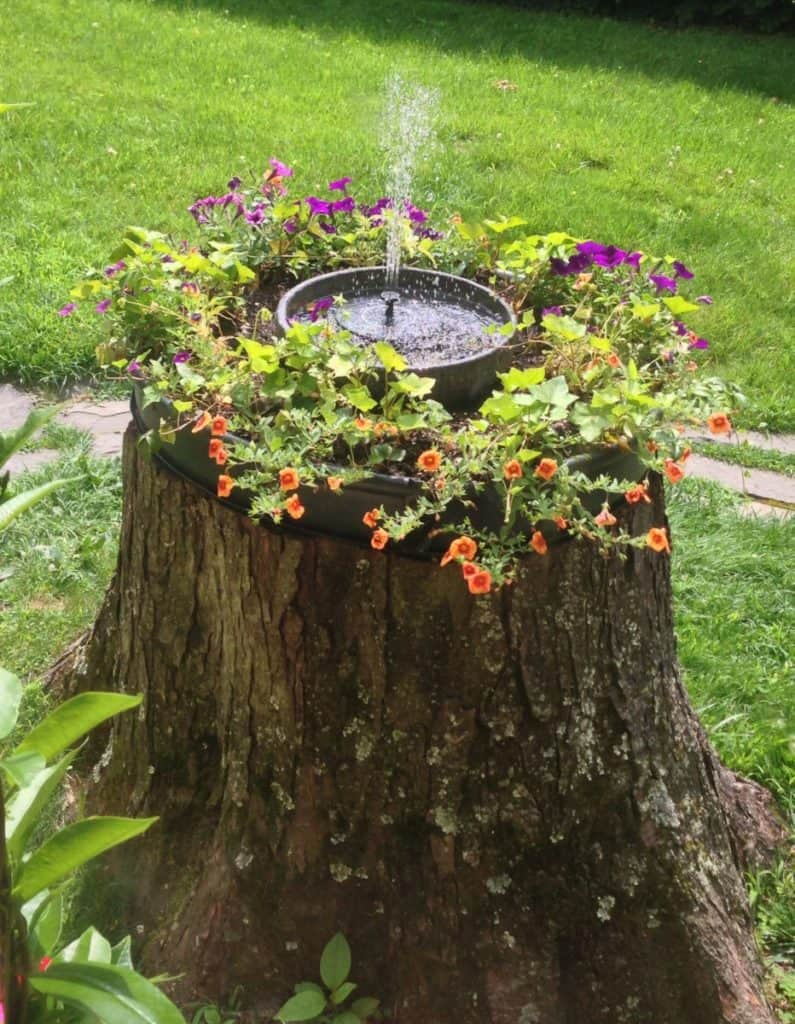 tree stump fountain